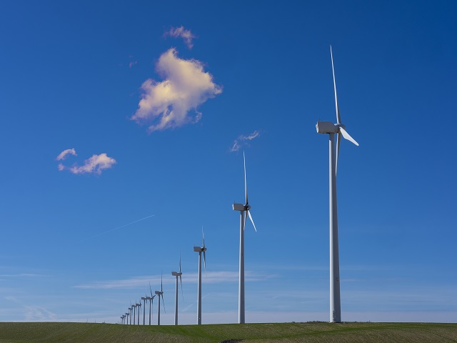 Wind turbines in eolic park, Aragon, Spain